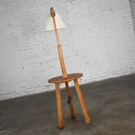 Vintage Ranch Oak Adjustable Arm Floor Lamp Tri Leg Base with Table by A. BrandtVintage Ranch Oak Adjustable Arm Floor Lamp Tri Leg Base with Table by A. Brandt