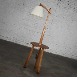 Vintage Ranch Oak Adjustable Arm Floor Lamp Tri Leg Base with Table by A. Brandt