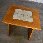 MCM Scandinavian Teak Side Table or End Table with Tile Insert by Poul H. Poulsen for Gangso Mobler