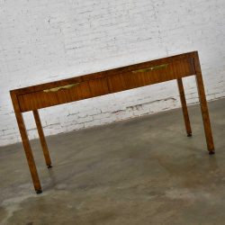 Modern Hollywood Regency Walnut Parson's Style Hall Writing Desk by Tomlinson Furniture