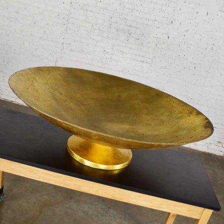 Monumental Four Foot Diameter Vintage Fiberglass Gold Leaf Footed Bowl Store Display