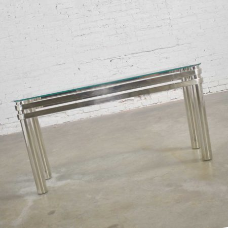 Modern Chrome Rectangle Console Sofa Table with Glass Top Style of Pace or Karl Springer