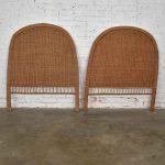 Pair Boho Chic Organic Modern Wicker Twin Headboards