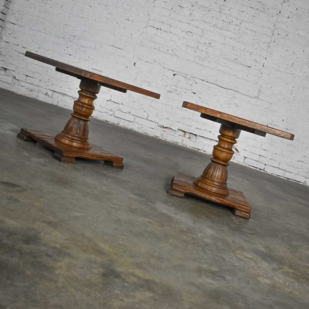Pair Vintage Ranch Oak Pedestal Side Tables with Acorn Brown finish by A. Brandt