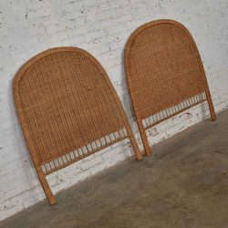Pair Boho Chic Organic Modern Wicker Twin Headboards