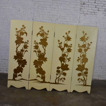 Painted Off White Hollywood Regency BoHo Chic Four Panel Folding Screen with Floral Embossed Design