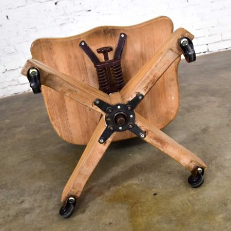 Vintage Ranch Oak Rolling Desk Chair with Leather Back by A. Brandt Company