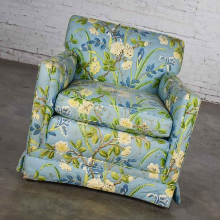 Blue Quilted Chintz Original Cabbage Rose Floral Hollywood Regency Club Chair Style Buatta or Parish