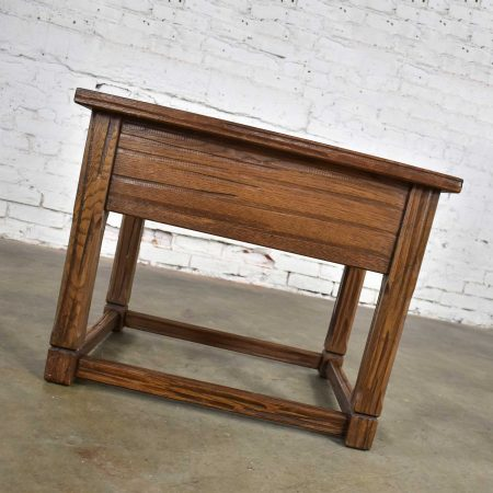 Vintage Ranch Oak Drawered End Table Acorn Brown Finish by A. Brandt