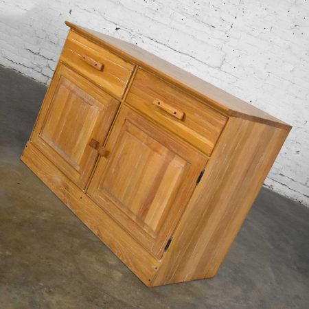 Vintage Ranch Oak Pair of Small Credenzas or Buffet Cabinets by A. Brandt Company