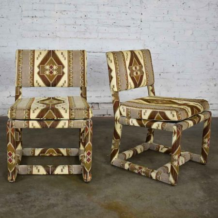 Milo Baughman for Thayer Coggin Tribal Print Upholstered Parsons Chairs a Pair