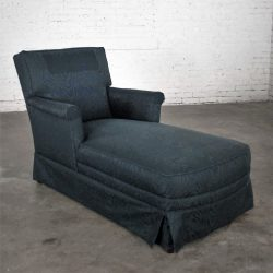 Traditional Chaise Lounge with Navy Blue Cotton Moire Fabric and Rolled Arms