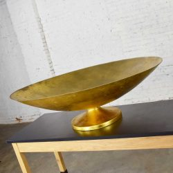 Monumental Four Foot Diameter Vintage Fiberglass Gold Leaf Footed Bowl Store Display