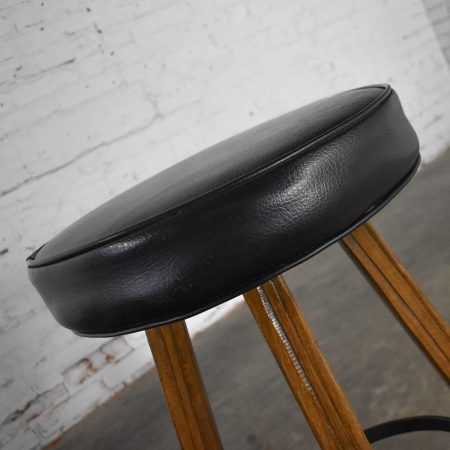 Brandt Ranch Oak Bar Stool Acorn Brown Finish and Black-Brown Vinyl Faux Leather Seat