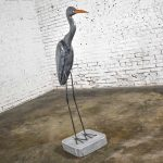 Life-sized Blue Heron Wood Carved Figure on Stand Signed