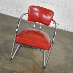 Art Deco Streamline Modern Bauhaus Cantilever Chair Chrome & Red Vinyl Attributed to Kem Weber for Lloyd's Manufacturing