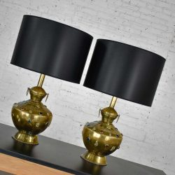 Pair of Tibetan Hand Hammered Brass Lamps with Glass Jewels