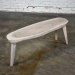 Vintage Pickled Mahogany Oval Slab Top Tri-Leg Table Style Nakashima