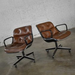 Executive Armchairs by Charles Pollock for Knoll Brown Leather 4 Prong Bases a Pair