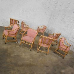 Rattan Rolling Dining Chairs in the Style of Ficks Reed Set of 8