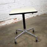 Vintage Eames for Herman Miller Square Rolling Side Table Universal Base White Laminate Top