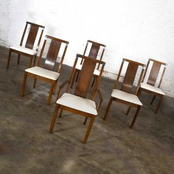 Mid-Century Modern Walnut Dining Chairs Set of 6 with Chrome Accents