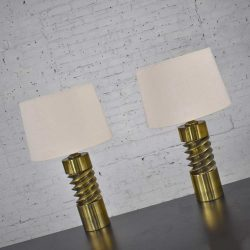 Vintage Mid Century Modern Brass Plated Corkscrew Table Lamps with New Shades a Pair