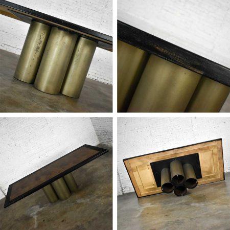 Modern Dining Table Metal Cylinder Pedestal Base & Black Oak Framed Top with Brass Insert