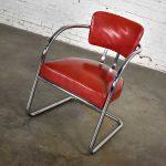 Art Deco Streamline Modern Bauhaus Cantilever Chair Chrome & Red Vinyl Attributed to Kem Weber for Lloyd's Manufacturing