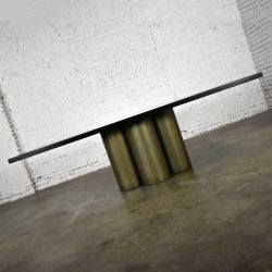 Modern Dining Table Metal Cylinder Pedestal Base & Black Oak Framed Top with Brass Insert