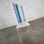 Modern Lucite Chair Rainbow Graduated Back Slats Attributed to Shlomi Haziza for H. Studio