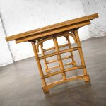 Rattan Dining Table with 2 Leaves & Off-White Laminate Top in the Style of Ficks Reed