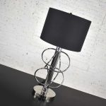 Vintage Mid-Century Modern Polished Chrome Table Lamp New Black Drum Shade