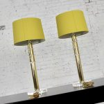 Modern Hollywood Regency Lucite & Brass Plate Lamps Chartreuse Green Shades a Pair Style Karl Springer