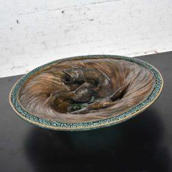 Organic Modern Cast Bronze Bowl Sculpture with Fish Design by John Forsythe
