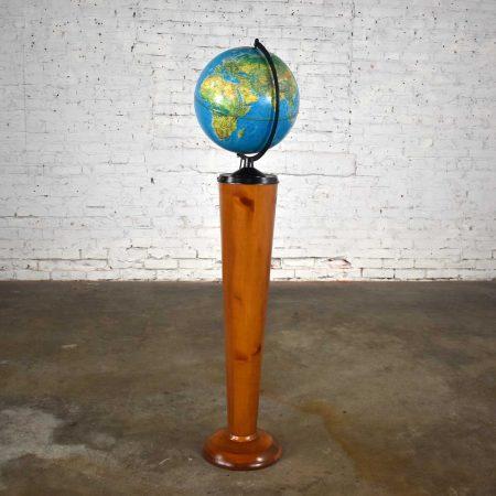 Mid-Century Modern Repogle World Horizon Series Lighted World Globe on Custom Pine Stand
