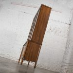 Mid-Century Modern Walnut Veneer Lighted China Cabinet with Chrome Accents