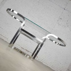 Mid-Century Modern Polished Chrome Oval Sofa or Console Table