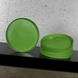 Mid Century Modern Trays Round Green Plastic Splatter Platters by Sabe's