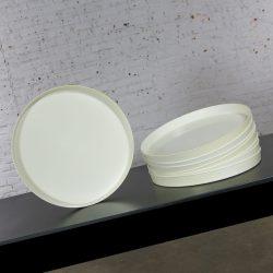 Mid Century Modern Trays Round White Plastic Splatter Platters by Sabe's