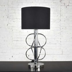 Vintage Mid-Century Modern Polished Chrome Table Lamp New Black Drum Shade