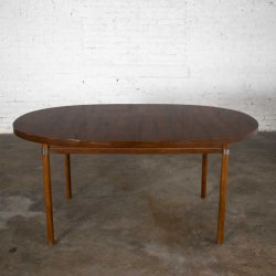 MCM Oval Walnut Toned Expanding Dining Table with Chrome Accents and Wood Grain Laminate Top