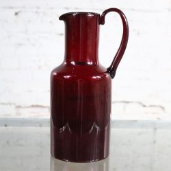 Venini Murano Signed Red Cocktail Pitcher