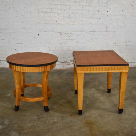 Pair Lane Art Deco Revival End Tables Mid-Toned Wood with Black Accents 1 Rectangle 1 Round
