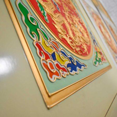 Vintage Asian Drop Ceiling Panels Hand Painted Embossed set of 18
