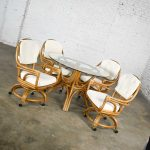Pacific Rattan Game or Dining Table Round Glass Top & 4 Rolling Swivel Chairs New Canvas Upholstery