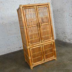 Vintage Rattan & Bamboo Organic Modern Upright Armoire Wardrobe Cabinet