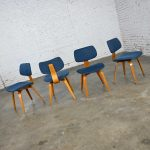 Mid-Century Modern Dining Chairs Blue Fabric and Bent Plywood by Thonet set of 4