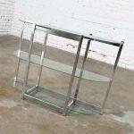 Mid-Century Modern Bow Shape Chrome Sofa Console Table 3 Glass Shelves Style of James David or DIA