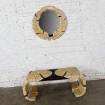 Art Deco Revival Tessellated Marble Low Console Table & Mirror Style of Maitland Smith